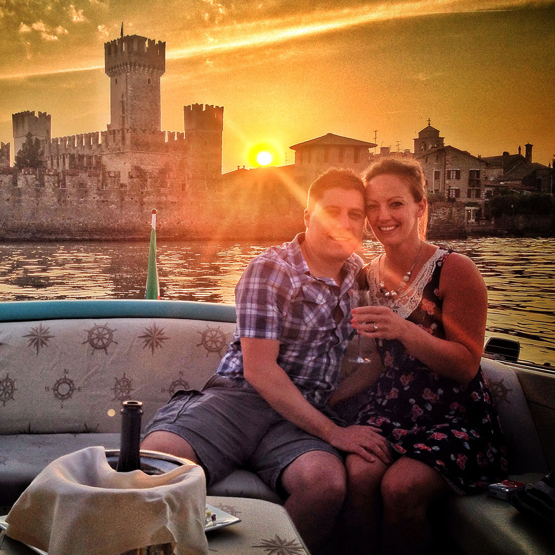Anniversary on a boat on Lake Garda