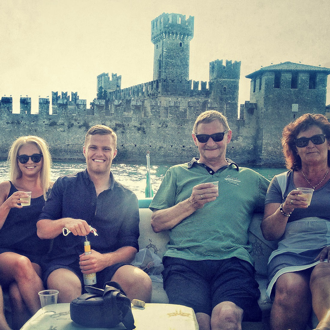 Aperitifs on a boat on Lake Garda